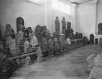 Archaeology of Indonesia - Hindu-Buddhist sculptures in the Museum of the Royal Batavian Society of Arts and Sciences (today the National Museum of Indonesia), Batavia, c.1896