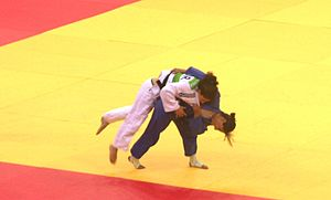 Yarden Gerbi - Gerbi (in blue) with Cachola from Portugal at the bronze final of the 2015 European Games (Baku)