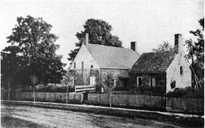Thomas Cadmus - Picture of back of house, including kitchen/slave quarters.
