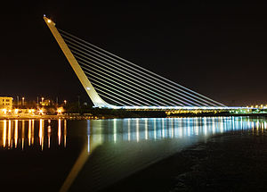 Puente del Alamillo - The Alamillo Bridge at night