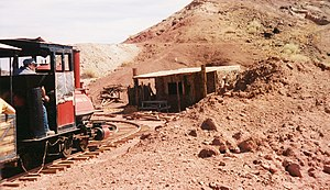 Calico and Odessa Railroad - Train through old mines in Calico, California.