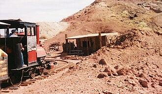 Calico and Odessa Railroad - Train through old mines in Calico, California.