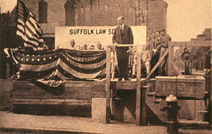 Suffolk University - Calvin Coolidge, then Governor of Massachusetts and eventual 30th President of the United States, laying cornerstone for the law building, in 1920.