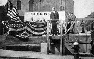 Suffolk University Law School - Calvin Coolidge, then Governor of Massachusetts and eventual 30th President of the United States, laying cornerstone for the law building, in 1920.