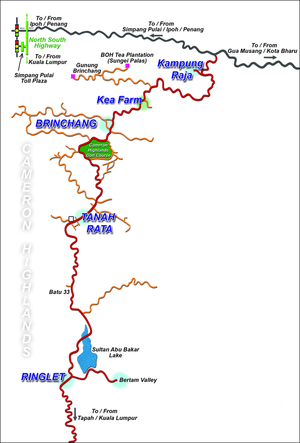 English: Sketched map of the Cameron Highlands...