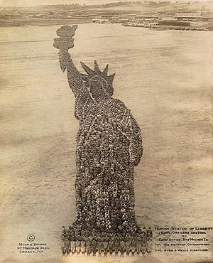 Camp Dodge - Human Statue of Liberty, created by 18,000 officers and enlisted men at Camp Dodge near Des Moines, Iowa, 1918, during World War I