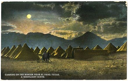 General Pershing's punitive expedition camp near the border, El Paso, Texas (postcard, circa 1916): Franklin Mountains, left-to-right (i.e., south-to-north) are: Ranger Peak, Sugarloaf Mountain, and part of South Franklin Mountain Camping on the Border, near El Paso, Texas.jpg