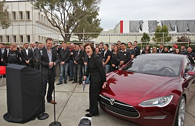 Musk And Senator Dianne Feinstein Next To A Tesla Model S 2010