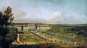 Treaty of Schönbrunn - Schönbrunn Palace and gardens, painting by Bernardo Bellotto (1758/61)