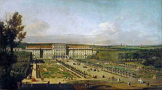 Treaty of Schönbrunn - Schönbrunn Palace and gardens, painting by Bernardo Bellotto (1758/61)