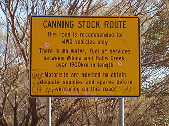 Canning Stock Route - Roadside sign at the southern end of the Canning Stock Route, near Wiluna