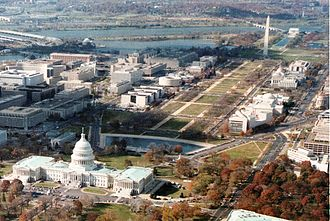 City Beautiful movement - Axial plan of The Mall, Washington, D.C.: the Reflecting Pool and Lincoln Memorial extend the central axis
