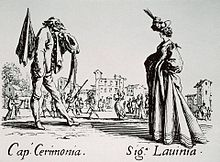Jacques, Callot. Balli di Sfessania: Captain Cermonia and Larinia. c. 1620. Etching. [dimensions unknown]. Courtesy Artstor.