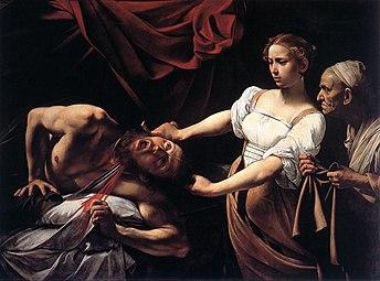 Toile représentant un homme nu égorgé par une femme accompagnée d'une vieille servante.