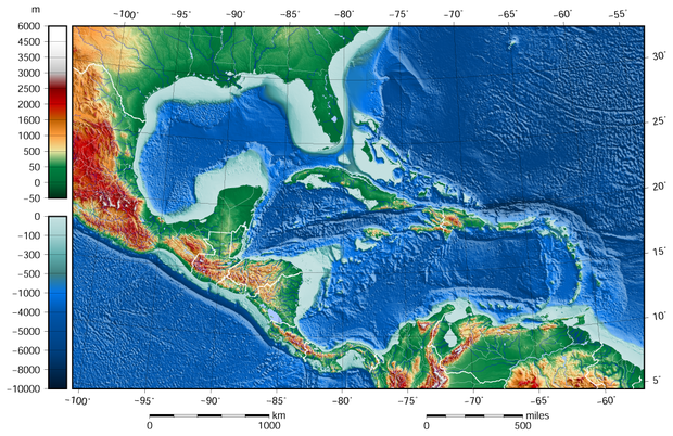 The shaded relief map of the Caribbean Sea and Gulf of Mexico area. Caribbean Sea Gulf of Mexico shaded relief bathymetry land map.png