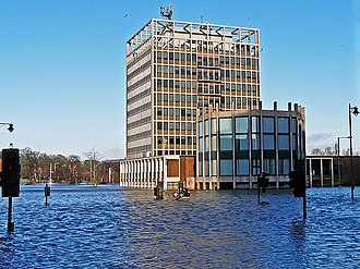 2015–16 Great Britain and Ireland floods - Carlisle Civic Centre in the floodwater, December 2015