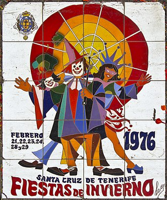 Carnival of Santa Cruz de Tenerife - Carnival Poster 1976 on a tile located on Constitution Avenue (Santa Cruz de Tenerife).