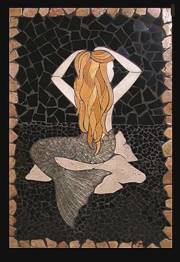 Carved Stone Mermaid Mural