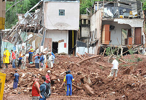 Nova Friburgo - Nova Friburgo during the January 2011 Rio de Janeiro floods and mudslides, which killed at least 214 people in the municipality and at least 610 in total.