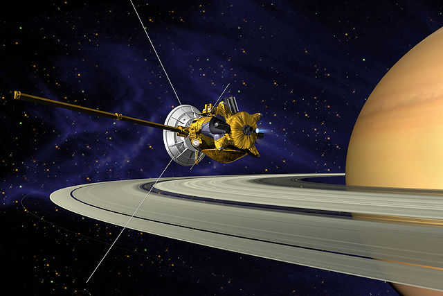 Cassini in orbit around Saturn