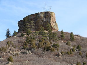 Castle Rock, Colorado - The town of Castle Rock is named after this prominent castle tower-shaped butte.