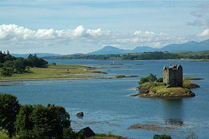 Island castle - Castle Stalker, an island castle in Scotland