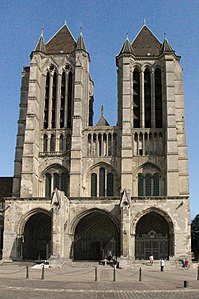 The West Front At Noyon Cathedral Begun 1145 Showing Influence Of Saint Denis