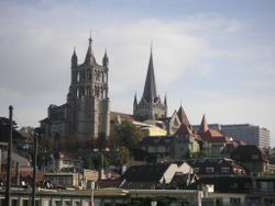 Cathedral on a hill in Lausanne.jpg
