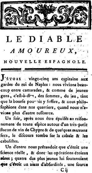 The Devil in Love (novel) - Title page of Jacques Cazotte's The Devil in Love, 1772