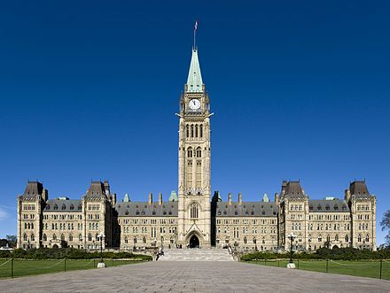 The centre block of the Parliament of Canada Building in Ottawa Centre Block - Parliament Hill.jpg