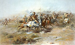 Charles Marion Russelin maalaus The Custer Fight Little Bighornin taistelusta.