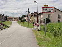 Chazelles-sur-Albe (M-et-M) city limit sign.jpg