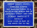 Chelsea China was manufactured in a house at the north end of Lawrence Street 1745-1784 Tobias Smollett 1721-1771 Novelist also lived in part of the house from 1750 to 1762.JPG