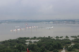 2015 South Indian floods - Aerial view of submerged Chennai airport