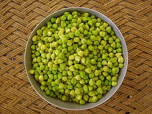 Fresh green seeds of pulse, for cooking purpose.