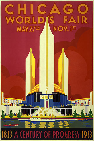 Century of Progress - A 1933 Century of Progress World's Fair poster.  It was later decided to continue the fair into 1934. This poster features the United States federal building and Hall of States.