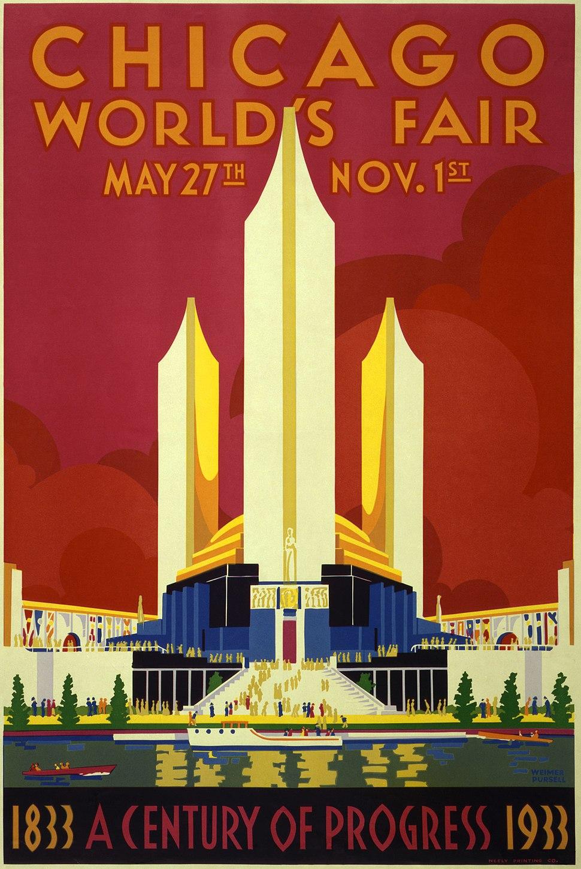 Chicago world's fair, a century of progress, expo poster, 1933, 2