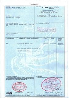 Certificate of origin International trade document
