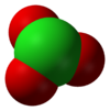 Space-filling model of the chlorate anion