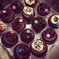 Chocolate cupcakes with chocolate ganache and vanilla.JPG