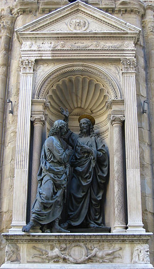 Octave of Easter - Andrea del Verrocchio's sculpture of the incredulity of St. Thomas.