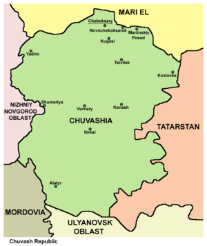 History of Chuvashia - Map of modern Chuvash Republic
