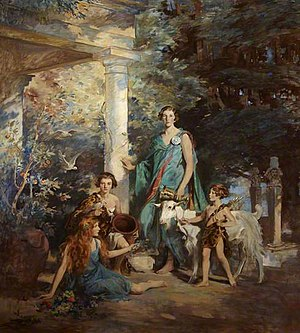 Edith Vane-Tempest-Stewart, Marchioness of Londonderry - Circe and the Sirens: A Group Portrait of the Honourable Edith Chaplin, Marchioness of Londonderry, and Her Three Youngest Daughters, Charles Edmund Brock.