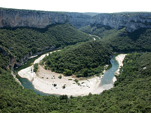 Bar (river morphology) - Point bar at a river meander: the Cirque de la Madeleine in the Gorges de l'Ardèche, France.