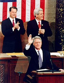 Al Gore and Newt Gingrich applaud as US president Clinton waves during the State of the Union address in 1997.