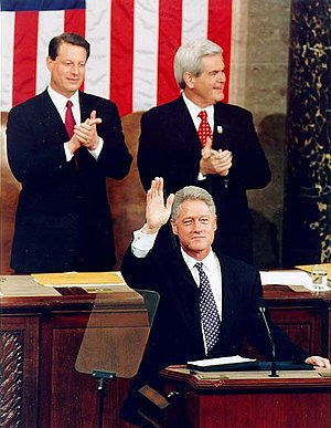 1997 State of the Union Address - President Bill Clinton with Vice President Al Gore and House Speaker Newt Gingrich during the 1997 State of the Union address.