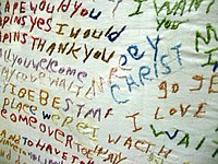 "Disorganized thinkingA cloth embroidered by a person with schizophrenia, a written example of a ""word salad""; a meaningless mixture of words and phrases. This is one example of the disorganized thinking caused by the disorder."