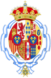 Coat of arms of Maria Mercedes of Bourbon Countess of Barcelona after her husband renounce as Pretender to the Spanish Throne (1977–2000).png