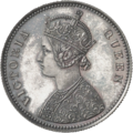 Coin, one rupee, Victoria Queen, India, 1862, obv.png