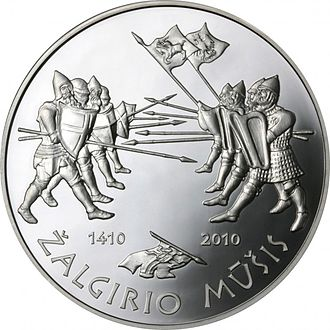 Commemorative coins of Lithuania - Image: Coin commemorating the 600th anniversary of the Žalgiris Battle Reversum (2)